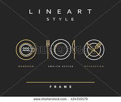 set sketch cutlery plate fork knife stock vector 379930309