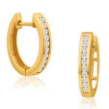 diamond huggie earrings diamond huggie earrings 9ct yellow gold g25250350 grahams jewelry