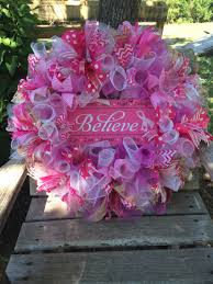 spring wreath for front door breast cancer awareness pink ribbon