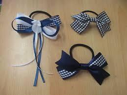 handmade bows new handmade girl s school navy blue gingham hair bows band