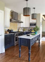 blue bottom and white top kitchen cabinets traditional kitchen idea with blue bottom cabinets white