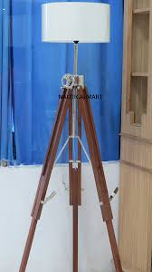 Tripod Floor L Chrome Finish Wooden Tripod Floor L For Living Room By