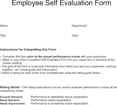 self evaluation template free download speedy template