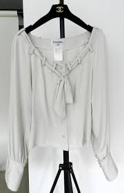 grey silk blouse chanel dove grey silk blouse with pearl buttons at 1stdibs