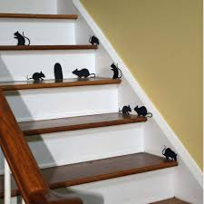 halloween decor wall decal creepy stair mice with mouse hole