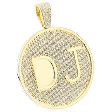 gold mens necklace pendants images Custom 10k yellow gold diamond dj pendant for men with initials 6 5ct jpg
