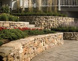 belvedere retaining wall and decorative stone landscaping