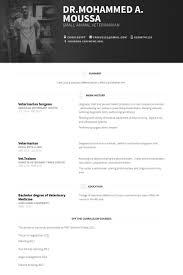 Resume For Veterinarian Veterinarian Resume Samples Visualcv Resume Samples Database