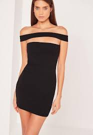 bodycon dress cut out panel bardot bodycon dress black missguided