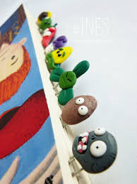 handmade polymer clay bookmarks marques pages fimo plants vs