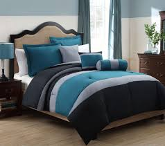 Blue Grey Chevron King Size Bedding Bedroom Black And Gray Comforter With Sham On Grey Bed Frame With