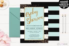 mint black and gold baby shower invitat design bundles
