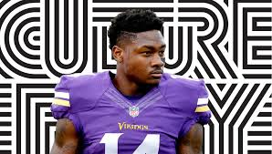 vikings wide receiver stefon diggs with the side part
