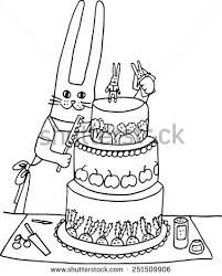 rabbit makes wedding cake handdrawn illustration stock vector