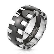 gear wedding ring dual tone black ip silver gear stainless steel wedding band
