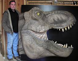 Dinosaur Head Wall Mount Foam Life Sized T Rex Bust Museum Replica Tom Spina Designs