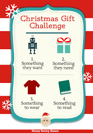 4 gift christmas challenge want need wear u0026 read money