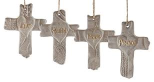religious cross sayings hanging ornament set of 4