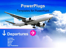 powerpoint template travel theme with modern train and flying