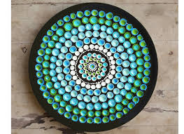 aboriginal art blue design wall plate home décor free shipping