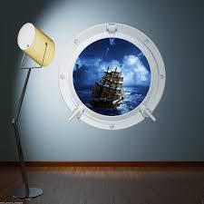 pirate ship sea porthole full colour wall sticker decal transfer pirate ship sea porthole full colour wall sticker decal transfer mural print 2