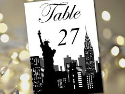 themed table numbers travel theme wedding table number template new york silhouette