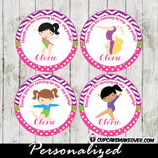 gymnastics cake toppers gymnastics cupcake toppers purple pink personalized tags d4