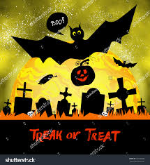 happy halloween card graveyard moon bats stock vector 721664665