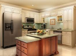 Cream Kitchen Cabinets Spacious Kitchen With Classic Wooden Island And Cream Kitchen