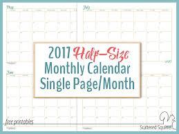 print calendars for 2017 2017 half size monthly calendar printables