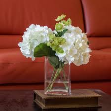 white hydrangeas white hydrangea arrangement silk flowers greenery spray