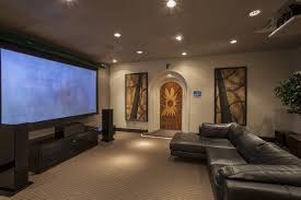awesome living room theater ideas with comfortable black sofas and