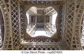 eiffel tower interior eiffel tower interior view a horiztontal closeup of the stock