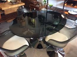 vintage chromcraft smoky glass dining table w set of 4 tulip