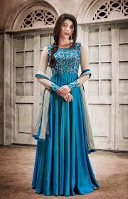 wedding dress indian anarkali suits in silk buy online blue floor touch indian