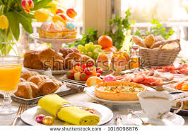 brunch table breakfast brunch table filled all sorts stock photo royalty free