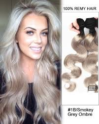 ombre weave black smokey grey ombre weave wave weft remy human hair
