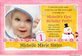 snow angel birthday photo invitation girly pink yellow snowflakes