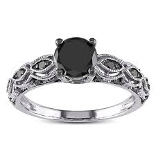gold diamond engagement rings miadora 10k white gold 1 1 4ct tdw black diamond engagement
