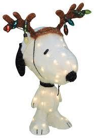 pre lit peanuts soft snoopy with reindeer antlers yard