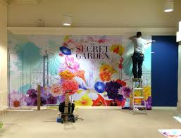 wall flowers with print n stick fabric lexjet blog installing the macy s spring flower show wall mural was a breeze with print n