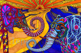 psychedelic trippy animals art print on canvas elephants poster
