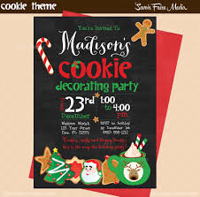 christmas cookie decorating invitation and cookie chalkboard