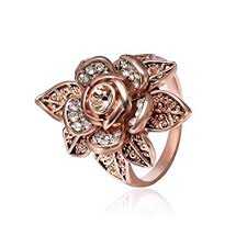 flower rings jewelry images Teniu womens rose gold ring diamond flower rings for jpg