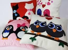 felt fleece stuffed pillow owls cushion home decor valentine u0027s gifts