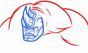 draw rhino amazing spiderman 2 step step