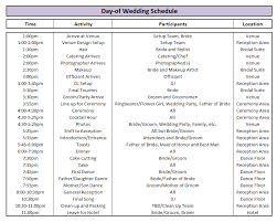 wedding agenda templates wedding timeline template excel materialwitness co