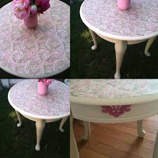 best hand painted round side table decoupaged top with fabric and