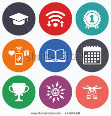 graduation sign graduation cap sign icon higher education stock vector 202007683