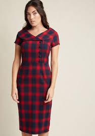 cute vintage inspired plaid dresses modcloth